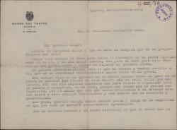 Carta de Fernando José de Larra a Guillermo Fernández-Shaw, expresando su alegría por los ofrecimientos que le ha hecho para el Museo del Teatro.