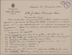 Carta de Fernando José de Larra a Guillermo Fernández-Shaw, recordándole su ofrecimiento a favor del Museo del Teatro y especificando las cosas que desea que le mande.