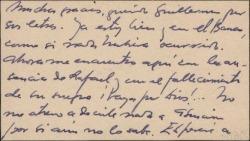 Tarjeta de visita de Gabriel García Espina a Guillermo Fernández-Shaw, agradeciéndole su interés por su salud.