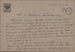Carta de Enrique Mariné a Guillermo Fernández-Shaw, agradeciéndole un pésame.