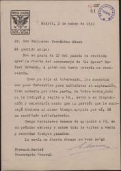 Carta de Enrique Mariné a Guillermo Fernández-Shaw, dándole cuenta de su gestión a favor de un recomendado suyo.