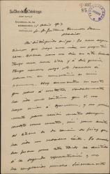 """Carta de Joan Costa i Deu a Guillermo Fernández-Shaw, haciendo elogios de la obra """"La sonata de Grieg"""", recién estrenada en Barcelona."""
