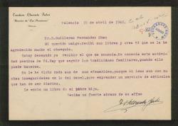 Carta de Teodoro Llorente Fálco a Guillermo Fernández-Shaw, agradeciéndole el envío de sus libros.