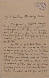 Carta de Fernando Noriega a Guillermo Fernández-Shaw, agradeciéndole el interés en su favor.