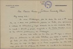 Carta de Valentín de Pedro a Guillermo Fernández-Shaw y Federico Romero, pidiéndoles autorización para publicar sus obras en una nueva colección de obras teatrales.