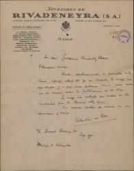 Carta de Valentín de Pedro a Guillermo Fernández-Shaw, pidiéndole una entrevista para ponerse de acuerdo sobre la publicación de sus obras.
