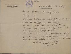 """Carta de Valentín de Pedro a Guillermo Fernández-Shaw, sobre unas fotografías que van a ser publicadas junto con """"Las alondras""""."""
