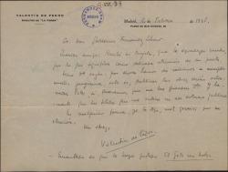 Carta de Valentín de Pedro a Guillermo Fernández-Shaw, agradeciendo su tarjeta y diciéndole que solo están interesados en publicar las obras más recientes.