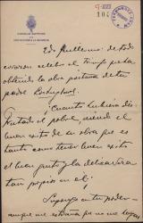 Carta de Luis Brun a Guillermo Fernández-Shaw, celebrando el triunfo obtenido por una obra póstuma de su padre, Carlos Fernández Shaw.