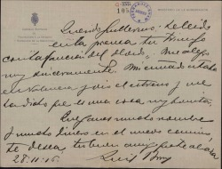"""Carta de Luis Brun a Guillermo Fernández-Shaw, felicitándole por el éxito de """"La canción del olvido""""."""