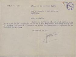 Carta de José María Pemán a Eduardo M. del Portillo diciéndole que pronto se reunirá con Guillermo Fernández-Shaw y Antonio Buero Vallejo para gestionar un tema de la Sociedad General de Autores de España.
