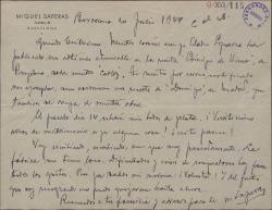 """Carta de Miquel Saperas a Guillermo Fernández-Shaw, enviándole unos recortes de prensa con artículos sobre """"Carlos de Viana""""."""