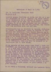 """Carta de Miquel Saperas a Guillermo Fernández-Shaw, aceptando sus condiciones económicas para la traducción de """"Carles de Viana"""", y hablando del músico Juan Vidal Roda y de otros conocidos de ambos."""