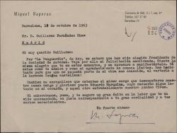 Carta de Miquel Saperas a Guillermo Fernández-Shaw, felicitándole por su nombramiento como Director de la Sociedad General de Autores de España.