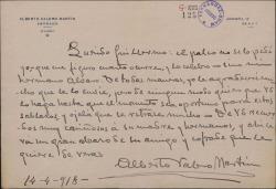 Carta de Alberto Valero Martín a Guillermo Fernández-Shaw, sobre el palco que le ha pedido a éste un hermano de áquel.