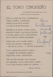 Tarjeta de Rafael Duyos con una poesía impresa del mismo dedicada a Guillermo Fernández-Shaw en una nota autógrafa.
