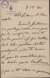 Carta de Luis Brun a Guillermo Fernández-Shaw, enviándole unas cuartillas que ha escrito sobre el libro póstumo de su padre, Carlos Fernández Shaw.