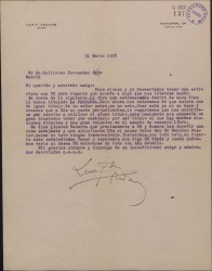 """Carta de Luis Fernández Ardavín a Guillermo Fernández-Shaw pidiéndole que le permita utilizar el título de """"La Parranda"""" para una obra suya, ya que existe una anterior de Carlos Fernández Shaw con ese mismo título."""