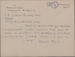 Carta de Ramón Cué a Guillermo Fernández-Shaw, agradeciéndole su carta y esperando su comentario.