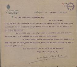 Carta de Narciso Díaz de Escovar a Guillermo Fernández-Shaw, reclamándole un antiguo libro suyo.