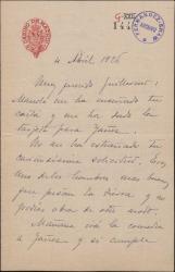 Carta de Pablo Cavestany a Guillermo Fernández-Shaw, agradeciéndole su intercesión a favor de una comedia suya.