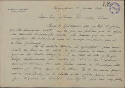 Carta de Pablo Cavestany a Guillermo Fernández-Shaw, agradeciéndole que haya leído su obra y pidiéndole que si lo considera oportuno se la recomiende al empresario del Teatro Español.
