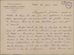 Carta de Pablo Cavestany a Guillermo Fernández-Shaw, agradeciéndole sus gestiones recomendando su obra al empresario del Teatro Español y esperando verle pronto por Barcelona.