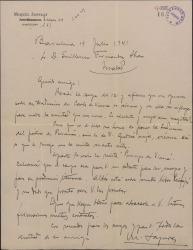 """Carta de Miquel Saperas a Guillermo Fernández-Shaw, insistiendo en sus elogios de la traducción de éste de """"Carles de Viana"""" y solicitándole un prólogo para incluirlo en la edición."""
