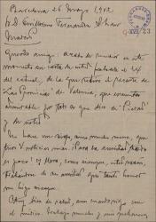 """Carta de Miquel Saperas a Guillermo Fernández-Shaw, comentando críticas periodísticas sobre """"Paisajes"""" y augurando un gran éxito con """"Loza lozana"""" cuando esté terminada."""