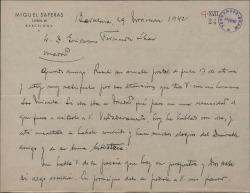 Carta de Miquel Saperas a Guillermo Fernández-Shaw, agradeciéndole sus atenciones para con su hermana y pidiéndole que le traduzca una breve poesía.