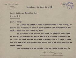 """Carta de Miquel Saperas a Guillermo Fernández-Shaw, enviándole una recensión de """"Paisajes"""" y hablándole de la novela que escribe."""