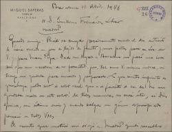 Carta de Miquel Saperas a Guillermo Fernández-Shaw, anunciando el envío de unos tejidos para su señora y hablando de sus ocupaciones comerciales y literarias.