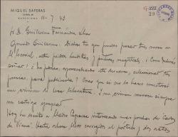 """Carta de Miquel Saperas a Guillermo Fernández-Shaw, animándole a que haga una selección de sus poesías para publicarlas, y refiriéndose a la edición de """"Carlos de Viana""""."""