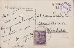Tarjeta postal de Miquel Saperas a Guillermo Fernández-Shaw, enviándole recuerdos desde Nuria.
