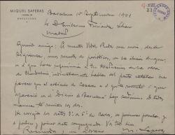 """Carta de Miquel Saperas a Guillermo Fernández-Shaw, remitiéndole unos artículos periodísticos y comentando la marcha de las correcciones de la edición de """"Carlos de Viana""""."""