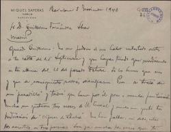 Carta de Miquel Saperas a Guillermo Fernández-Shaw, elogiando sus aciertos poéticos y hablando de otros temas literarios y personales.