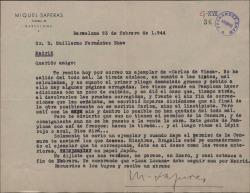 """Carta de Miquel Saperas a Guillermo Fernández-Shaw, anunciándole el envío de un ejemplar de """"Carlos de Viana"""" recién editada y comentando pormenores de la edición."""