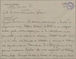 Carta de Miquel Saperas a Guillermo Fernández-Shaw, anunciándole la visita de su amigo Octavio Saltor.