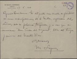 """Carta de Miquel Saperas a Guillermo Fernández-Shaw, enviando un recorte de periódico donde se menciona la obra """"Don Lucas del Cigarral""""."""
