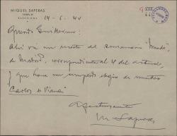 """Carta de Miquel Saperas a Guillermo Fernández-Shaw, enviando un recorte de periódico donde se hace un elogio de """"Carlos de Viana""""."""