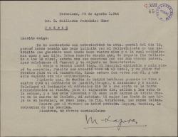 Carta de Miquel Saperas a Guillermo Fernández-Shaw, hablando de un reciente viaje y del fallecimiento de una sobrina.