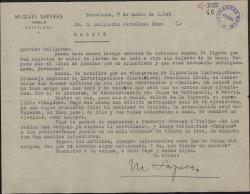 Carta de Miquel Saperas a Guillermo Fernández-Shaw, proponiéndole nuevas colaboraciones literarias.