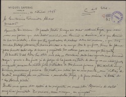 Carta de Miquel Saperas a Guillermo Fernández-Shaw, lamentándose de no tener noticias suyas y dándole diversos detalles de su vida y de su obra.