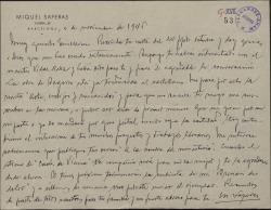Carta de Miquel Saperas a Guillermo Fernández-Shaw, contestando a una suya y celebrando sus proyectos y trabajos literarios.