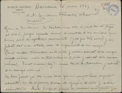 Carta de Miquel Saperas a Guillermo Fernández-Shaw, dándole cuenta de la enfermedad de su esposa.