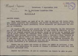 Carta de Miquel Saperas a Guillermo Fernández-Shaw, contándole el accidente que ha sufrido y anunciándole la publicación de su último libro, que hace el número quince.