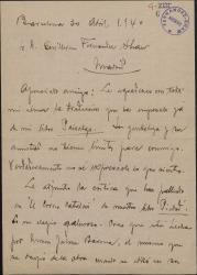 """Carta de Miquel Saperas a Guillermo Fernández-Shaw, agradeciéndole que haya comenzado la traducción de su obra """"Paisatges"""" y adjuntando una crítica muy positiva de """"Piedad""""."""