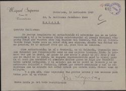 """Carta de Miquel Saperas a Guillermo Fernández-Shaw, felicitándole por la obtención del premio nacional """"Ruperto Chapí"""" y elogiando la reciente interpretación de """"Doña Francisquita"""" por Emilio Vendrell."""