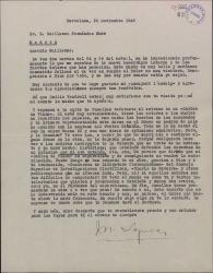 """Carta de Miquel Saperas a Guillermo Fernández-Shaw, interesándose por su salud y comentando los posibles problemas con la censura para la representación de """"Carlos de Viana""""."""