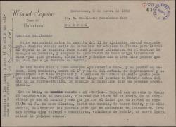"""Carta de Miquel Saperas a Guillermo Fernández-Shaw, comentando los posibles problemas con la censura para la representación de """"Carlos de Viana"""" y anunciando la salida de un nuevo libro suyo."""
